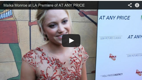 Maika Monroe at LA Premiere of AT ANY PRICE Film Courage Ramin Bahrani Beautiful Actress