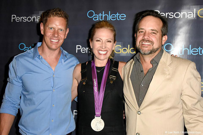"SANTA MONICA, CA - AUGUST 3: (L-R) Olympians Dotsie Bausch, Sky Christopherson and Adam Laurent attend at the worldwide Netflix premiere of ""Personal Gold"" at a private event in Santa Monica, California on August 3, 2016. © Lee Roth / Roth Stock Digital Media"